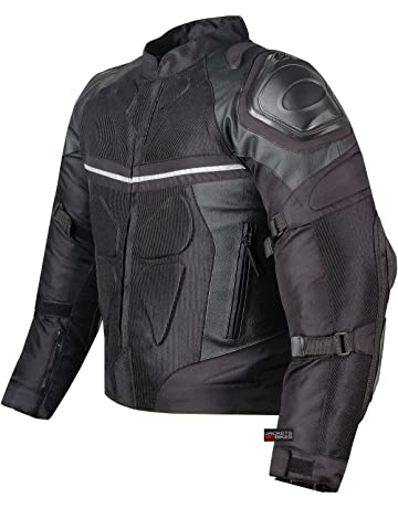 bcf6cc366b34 PRO LEATHER   MESH MOTORCYCLE WATERPROOF JACKET BLACK WITH EXTERNAL ARMOR S