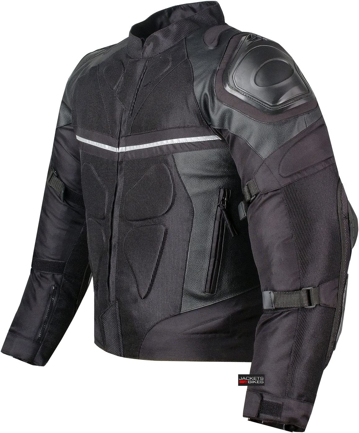 PRO LEATHER & MESH MOTORCYCLE WATERPROOF JACKET BLACK WITH EXTERNAL ARMOR XL: Automotive