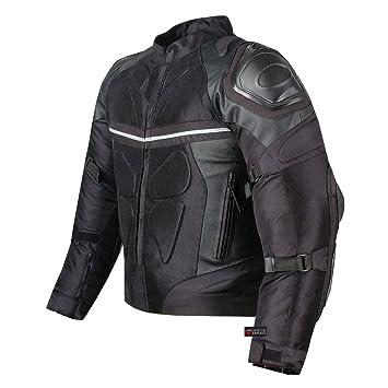 Amazon.com: PRO LEATHER & MESH MOTORCYCLE WATERPROOF JACKET BLACK ...