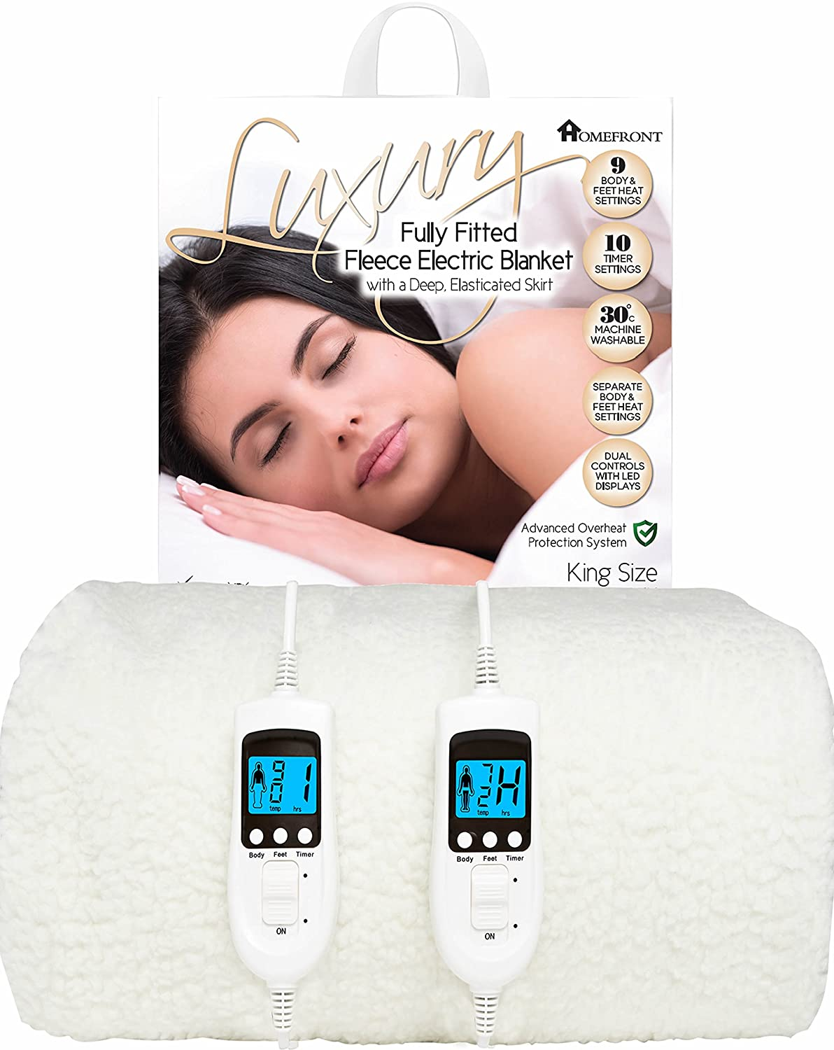 Homefront Electric Blanket King Size Dual Control Premium Fleece