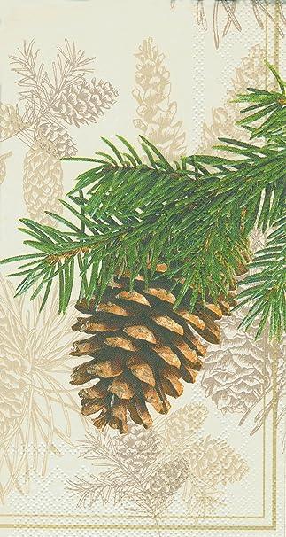 ideal home range guest towel decorative paper napkins fir cone on cream 16 count - Decorative Paper Napkins