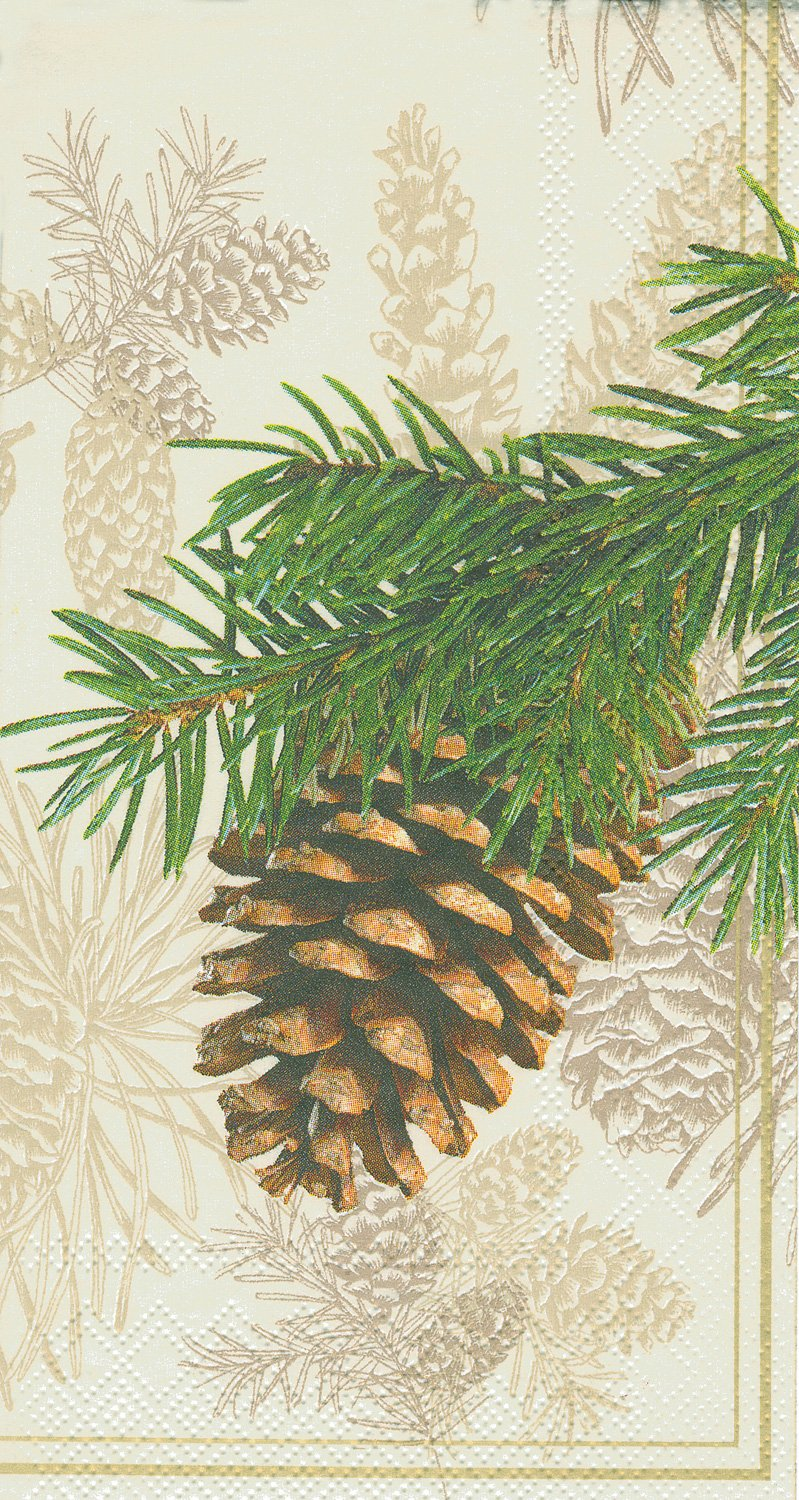 Ideal Home Range Guest Towel Decorative Paper Napkins, Fir Cone on Cream, 16 Count