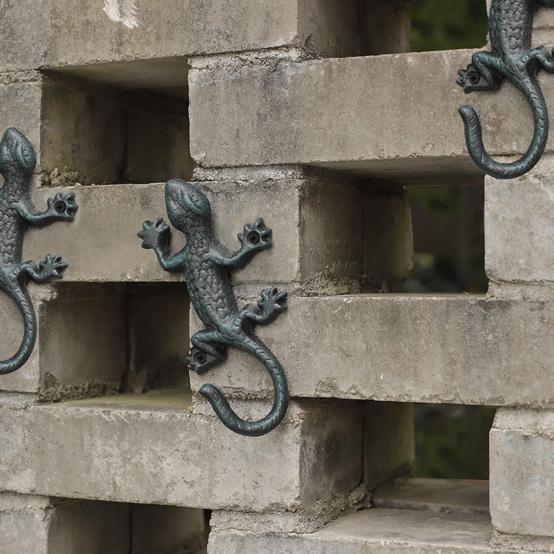 Juego de 3 decoraci/ón de Pared dise/ño r/ústico de Gecko ChasBete Ganchos para Colgar en la Pared 6 Pulgadas Hierro Fundido