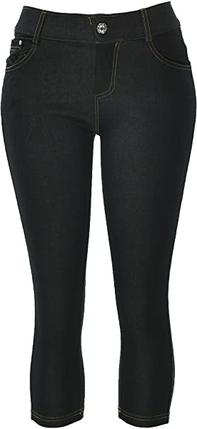 d5c2414ae67977 Hand By Hand Aprileo Women's Stretch Capri Jeggings Solid Cotton Blend  Leggings [01 Black]