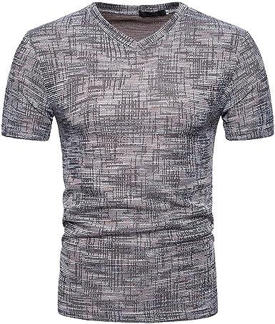 VPASS Camiseta para Hombre, Verano Manga Corta Color sólido Moda ...