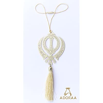 ADORAA Sikh Punjabi Khanda Symbol - Rear View Mirror Car Hanging Ornament/Perfect Car Charm Pendant/Amulet - Accessories for Car Décor in Brass for Divine Blessings & Safety/Protection: Automotive