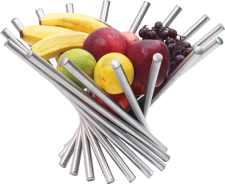 Frutero - Creativo Frutero plegable de acero inoxidable - Moderno antioxidante giratoria Cesta de frutas como decoración para la cocina y mesa de comedor