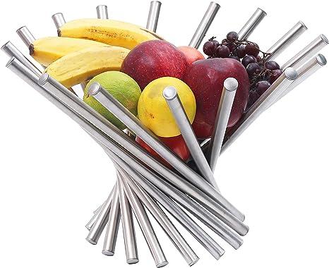 frutero Decorativo con dise/ño /único y Acero Inoxidable Frutero Plegable Cesta de Alambre Flexible Bananas y Manzanas Zeerkeer Moderno Soporte para Frutas para Naranjas