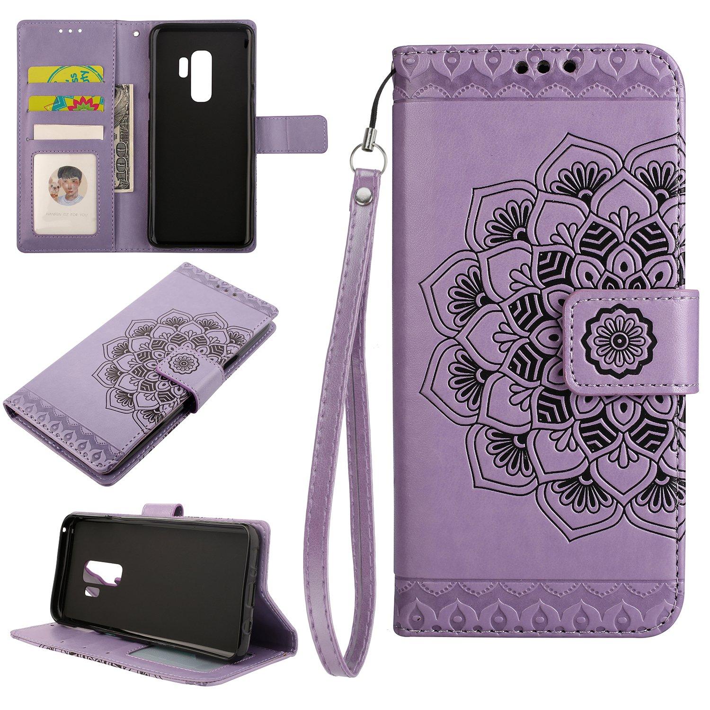 H/ülle Leder - NEHHA11172 Grau NEXCURIO Samsung Galaxy S9+ S9Plus Handyh/ülle Tasche Leder Flip Case Brieftasche Etui mit Kartenfach Sto/ßfest Kratzfest Schutzh/ülle f/ür Samsung Galaxy S9+ S9 Plus