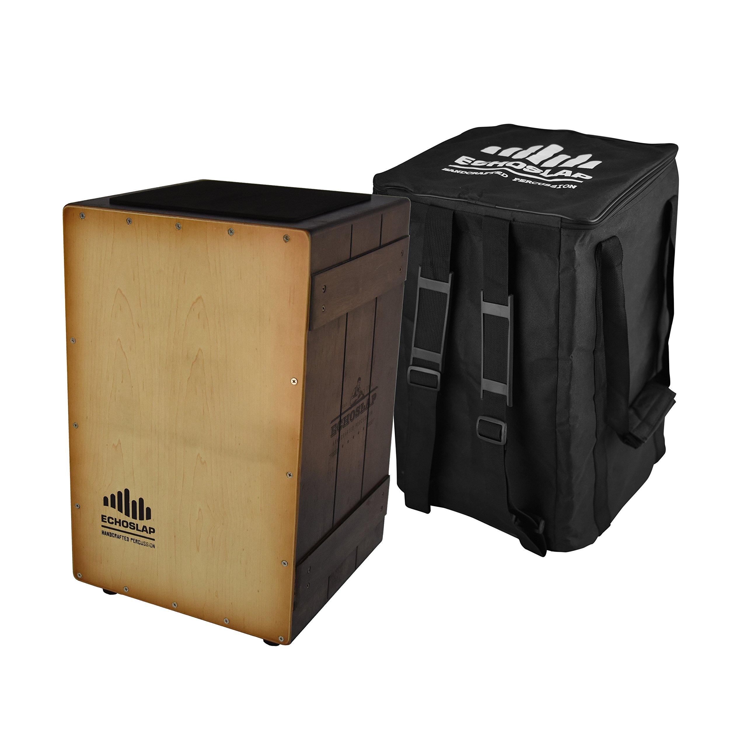 Echoslap Vintage Crate Cajon -Sunburst, Hand Crafted, Siam Oak Body, Maple Front Adjustable Snare