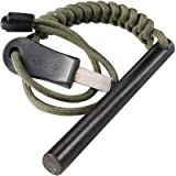 bayite 4 Inch Survival Ferrocerium Drilled Flint Fire Starter, Ferro Rod Kit with Paracord Landyard Handle and Striker…