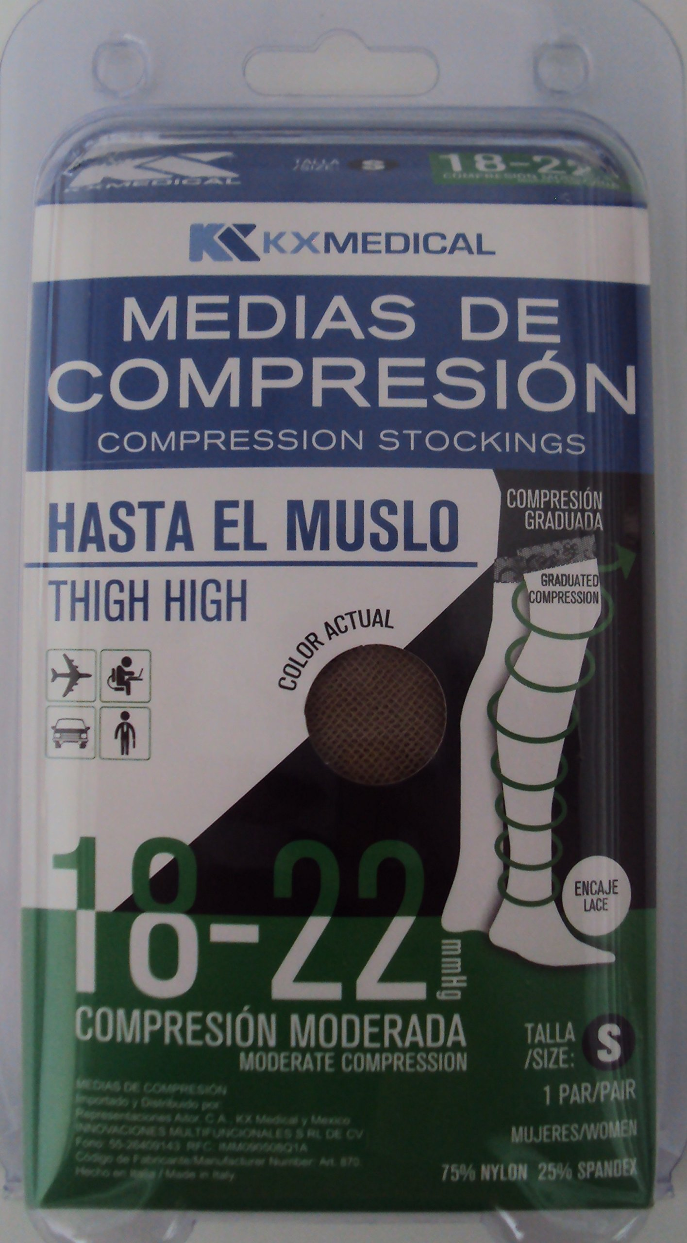 Thigh High Compression Stocking 15-20 mmHg (CE 18-22 mmHg) For Women. Size Small. Made in Italy. FDA. Recommended For Varicose Veins Socks, Dress Socks, Flight Travel (MC125US)