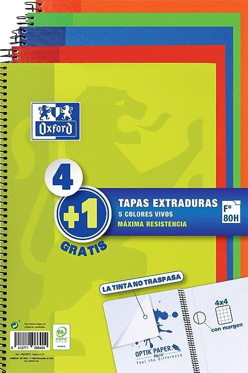 Oxford - Pack de 5 cuadernos (tapa extradura, 80 hojas, cuadrícula 4x4 con margen) Lima/Rojo/Naranja/Verde/Azul Marino: Amazon.es: Oficina y papelería