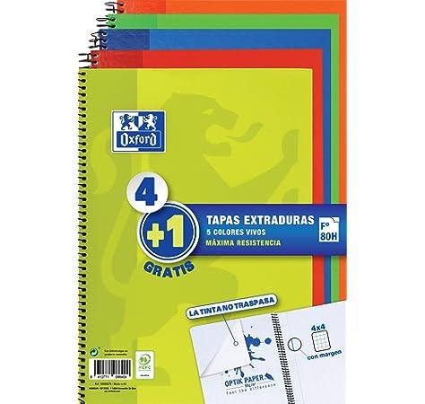 Oxford 100430151 Classic - Cuaderno espiral de tapa extradura, 80 Hojas, Colores surtidos, Formato 4º, Paquete de 5: Amazon.es: Oficina y papelería