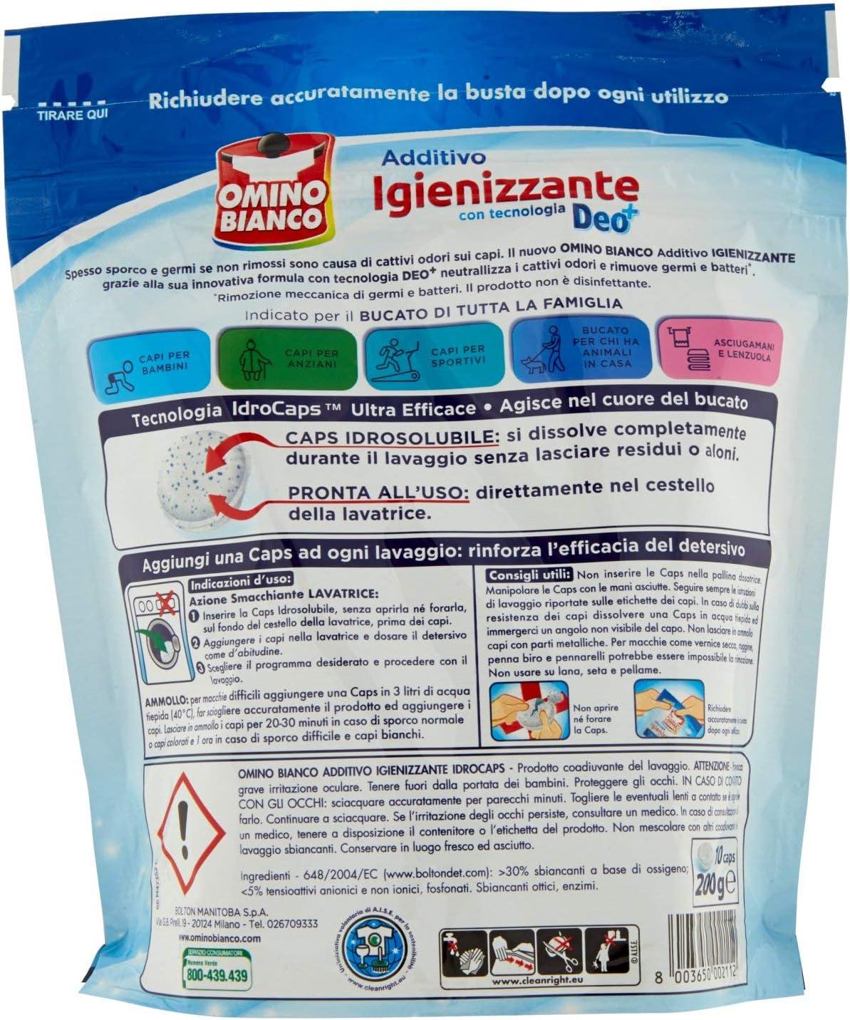 6 X idro caps OMINO BIANCO Idrocaps Igienizzante per lavatrice rimuovi germi
