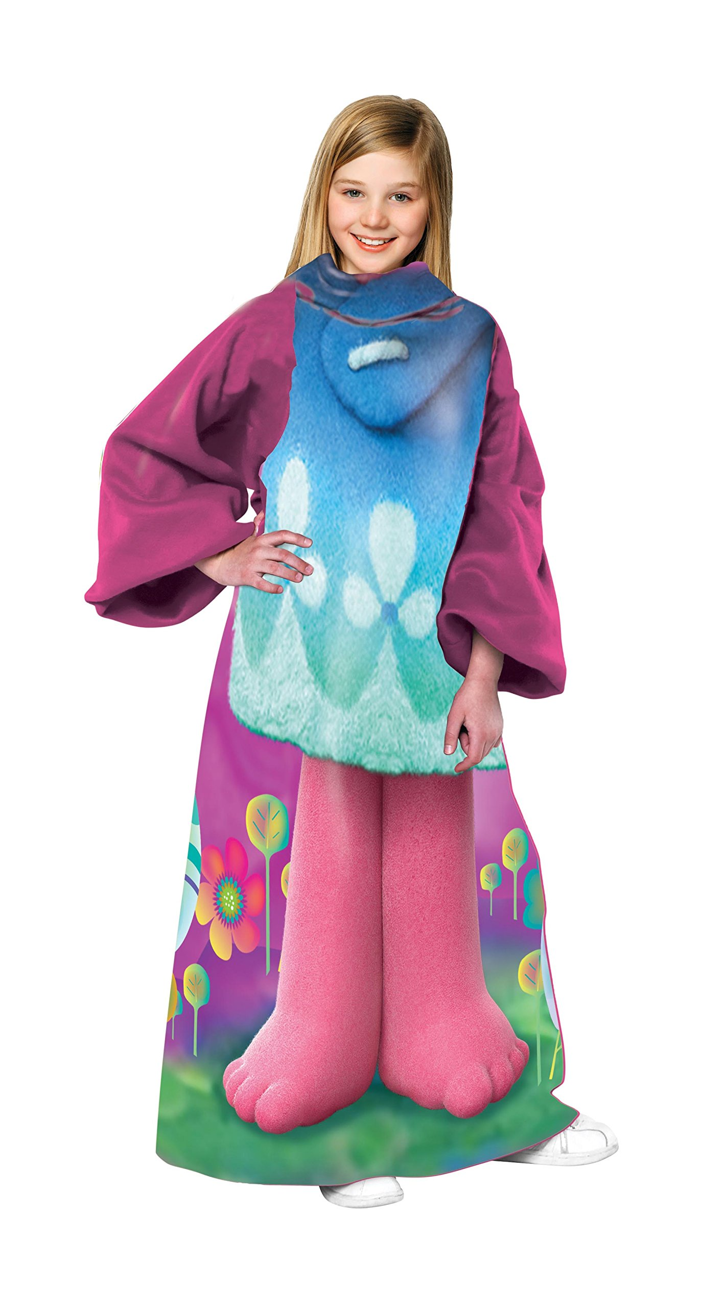 Universal's Trolls, ''Being Poppy'' Youth Comfy Throw Blanket with Sleeves, 48'' x 48'', Multi Color