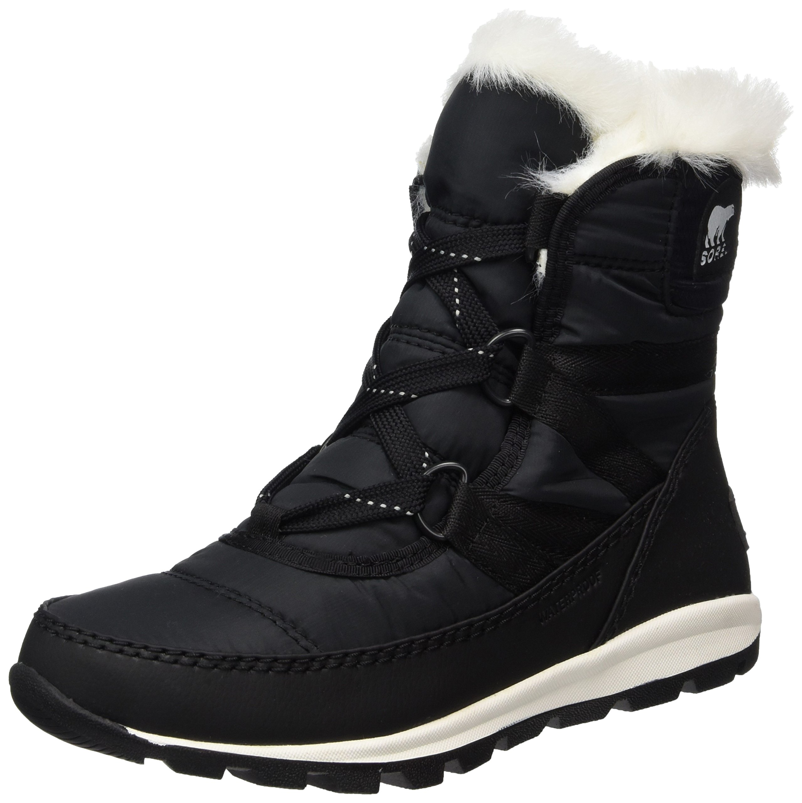 SOREL Youth Unisex Whitney Short Lace Non Shell Boot, Size: 4 M US Big Kid, Color Black/Sea Salt