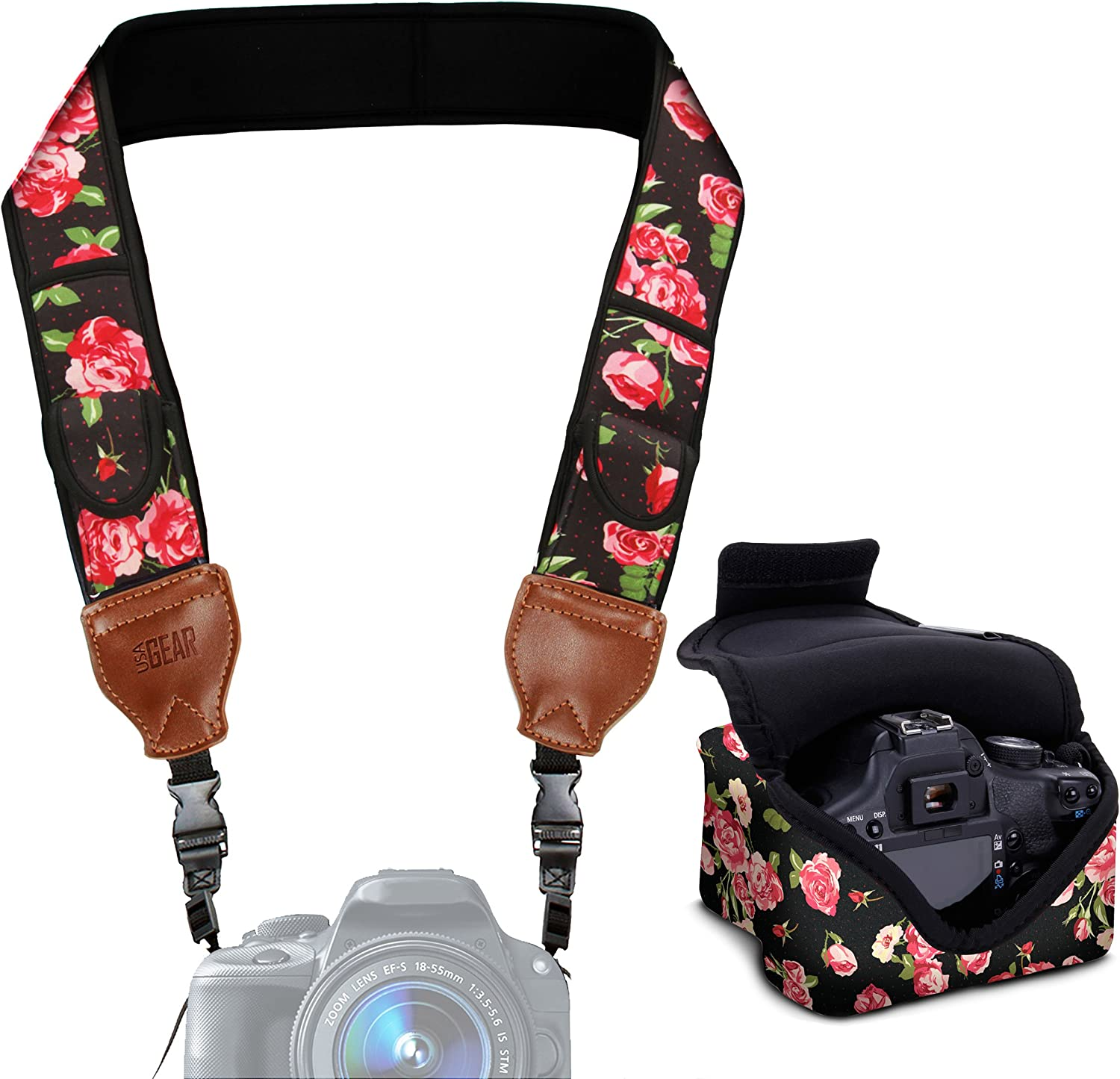 Nikon Sony and More Cameras Compatible with Canon Southwest USA GEAR Neoprene Camera Strap and Camera Case Fujifilm Olympus with Quick Release Buckles and Accessory Storage Pockets