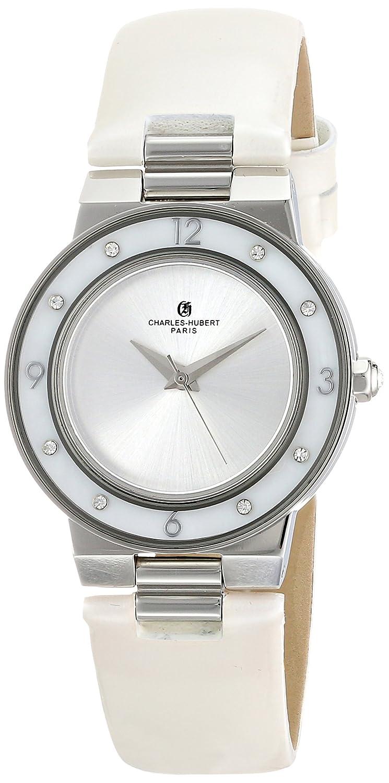 Charles-Hubert - Paris Damen-Armbanduhr 32mm Armband Kalbsleder Weiß GehÄuse Edelstahl Quarz Analog 6899-W