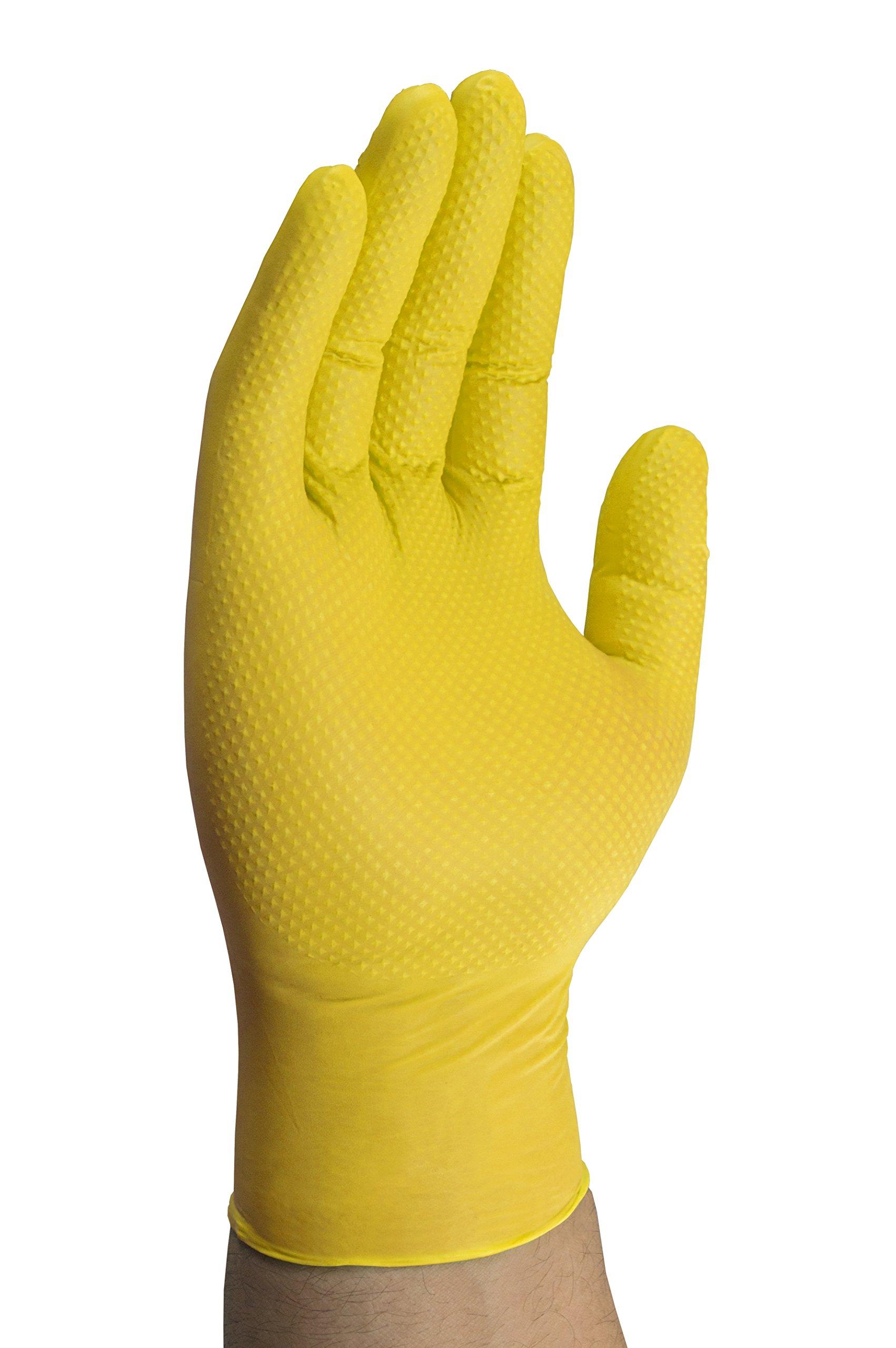 Mechanix Wear - Nitrile Disposable Gloves - Powder Free, Latex Free, Diamond Textured - 8 mil Yellow (Large, 100 Pack) by Mechanix Wear (Image #3)