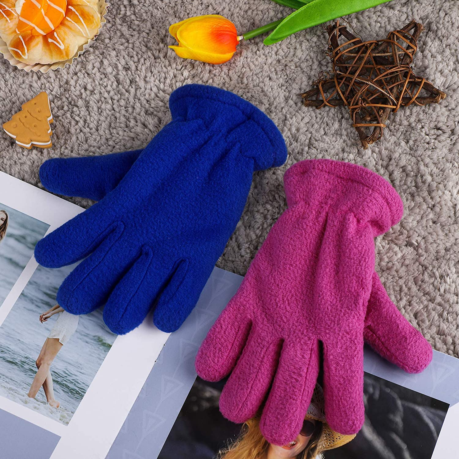 Cooraby 2 Pairs Kids Fleece Gloves Winter Lined Thick Mittens Warm Gloves for Outdoors Activities Supplies