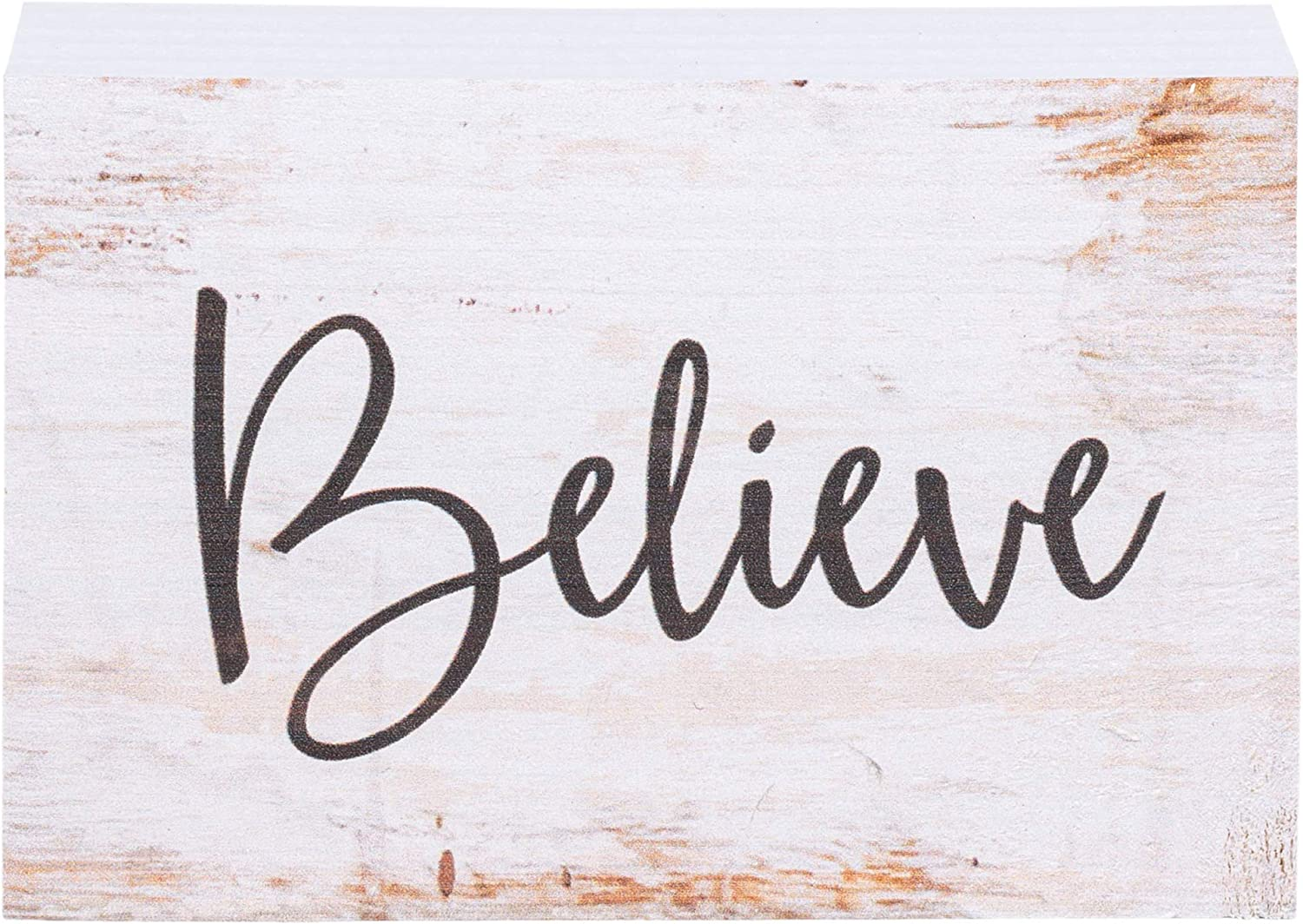 P. Graham Dunn Believe Grey Script White Wash 4 x 5 Inch Solid Pine Wood Barnhouse Block Sign