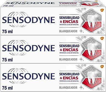Sensodyne Sensibilidad & Encías Blanqueante - Pasta de dientes con flúor - Pack de 3 x 75 ml: Amazon.es: Salud y cuidado personal