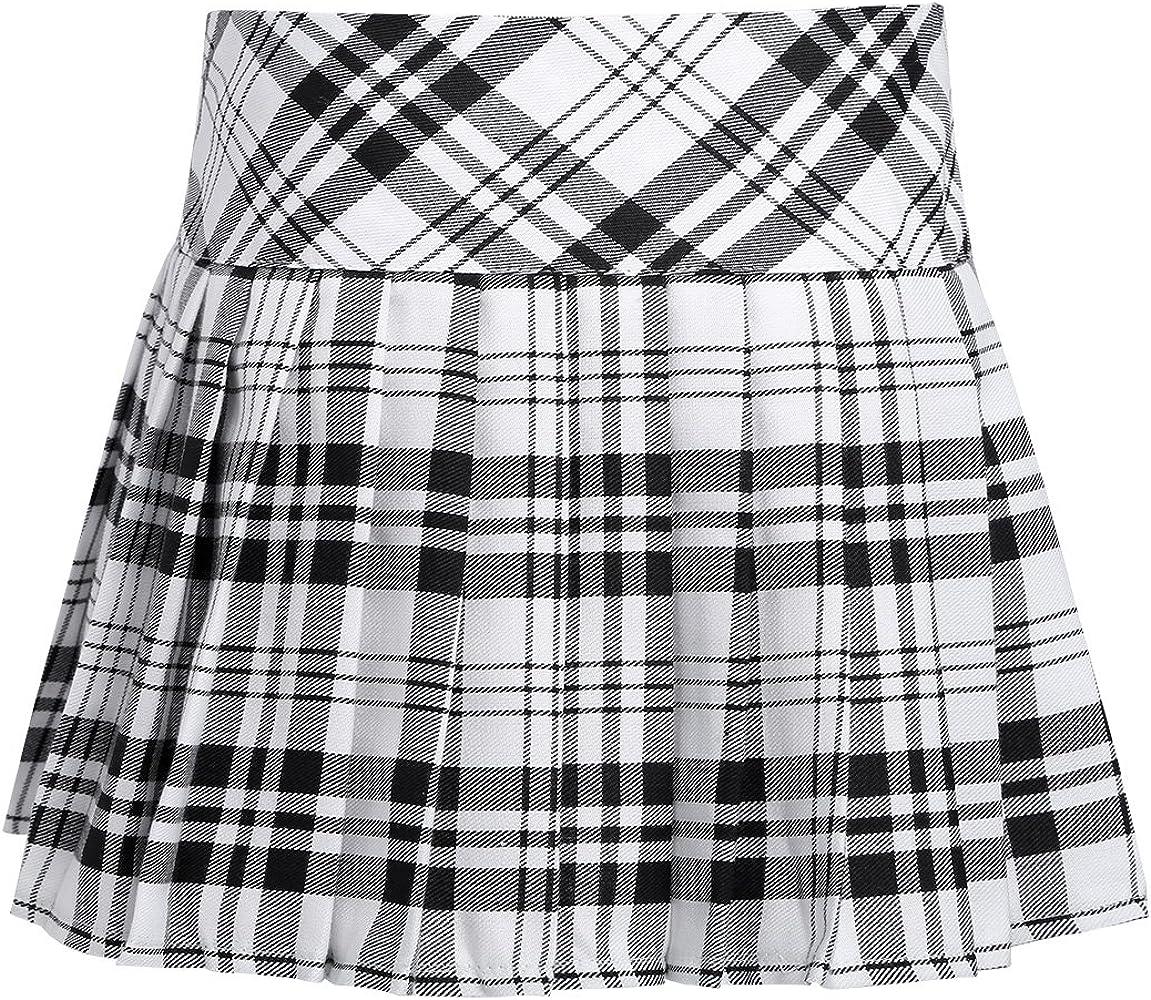 TiaoBug Niñas Falda Escolar Corta de Cuadros Escocesos Falda ...
