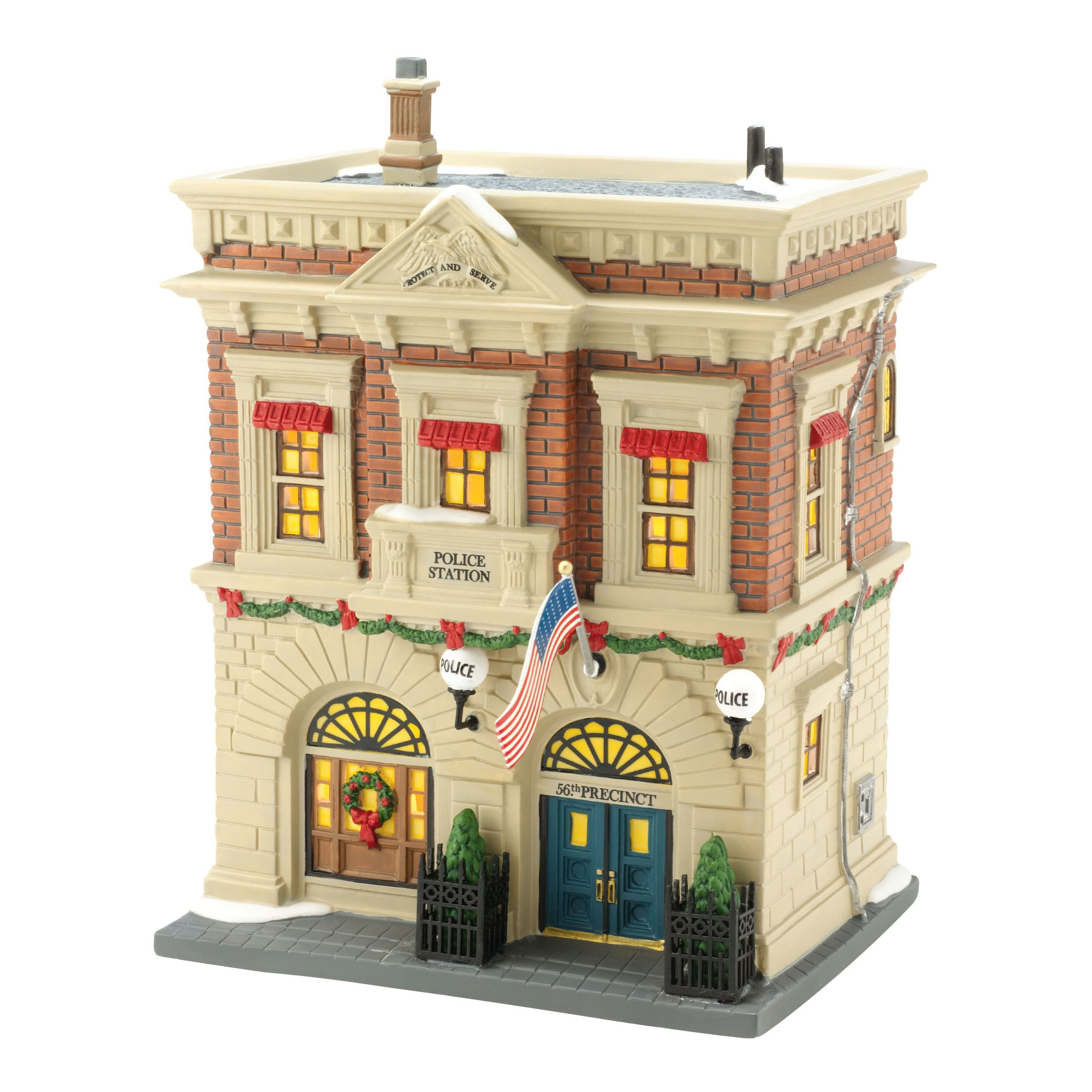Department 56 Christmas in the City Village Precinct 56 Police Station Lit House, 8.27 inch
