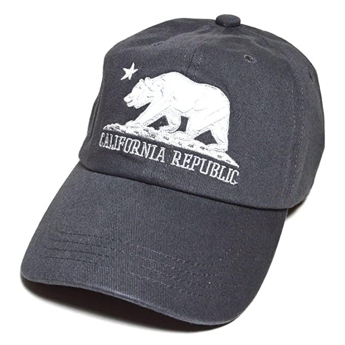 California Republic n Bear Embroidered Baseball Cap Polo Style Cotton  Unconstructed Hat (Grey) 156603910cb