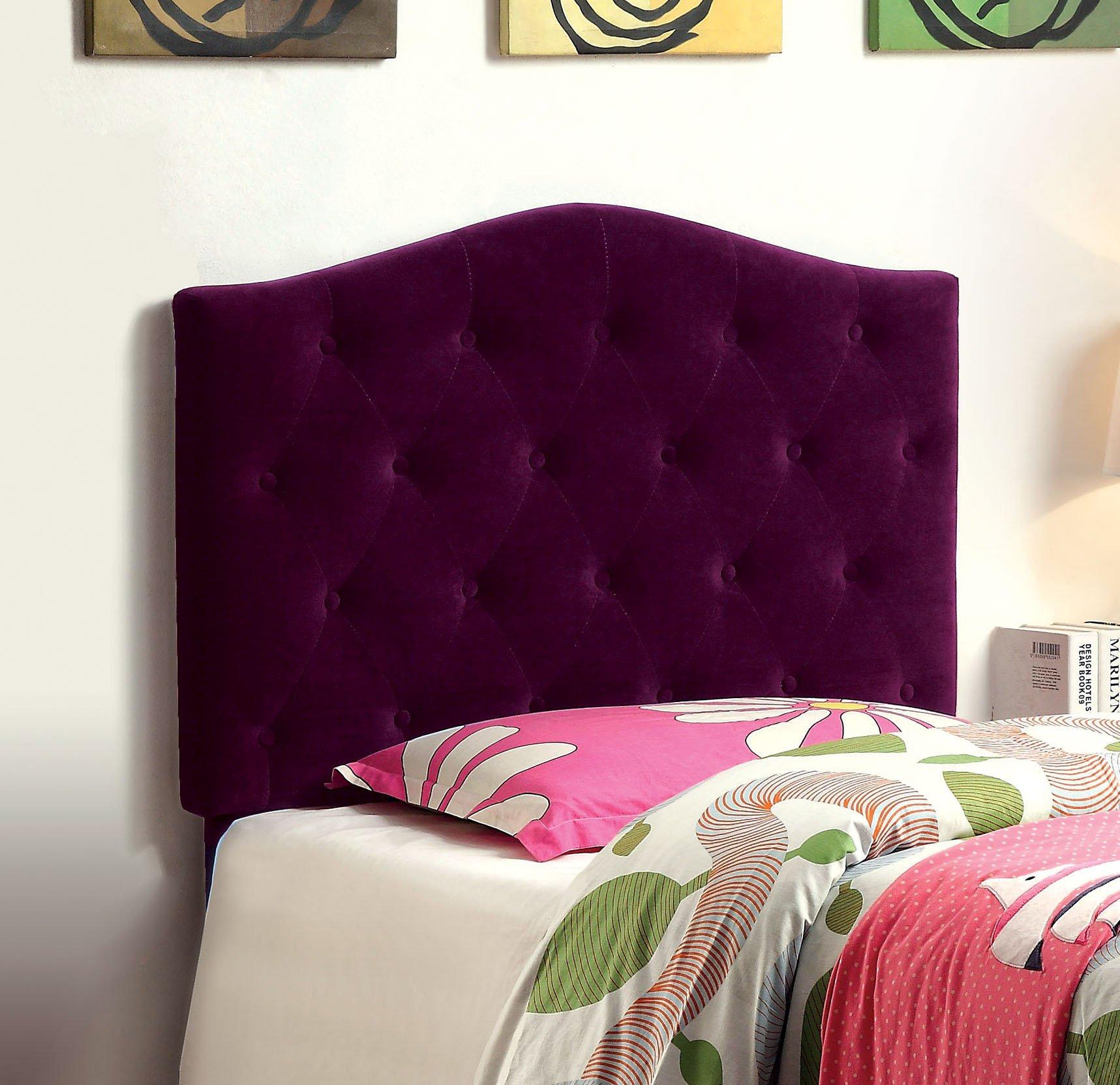 Furniture of America Satin Flax Fabric Button Tufted Headboard, Twin, Purple