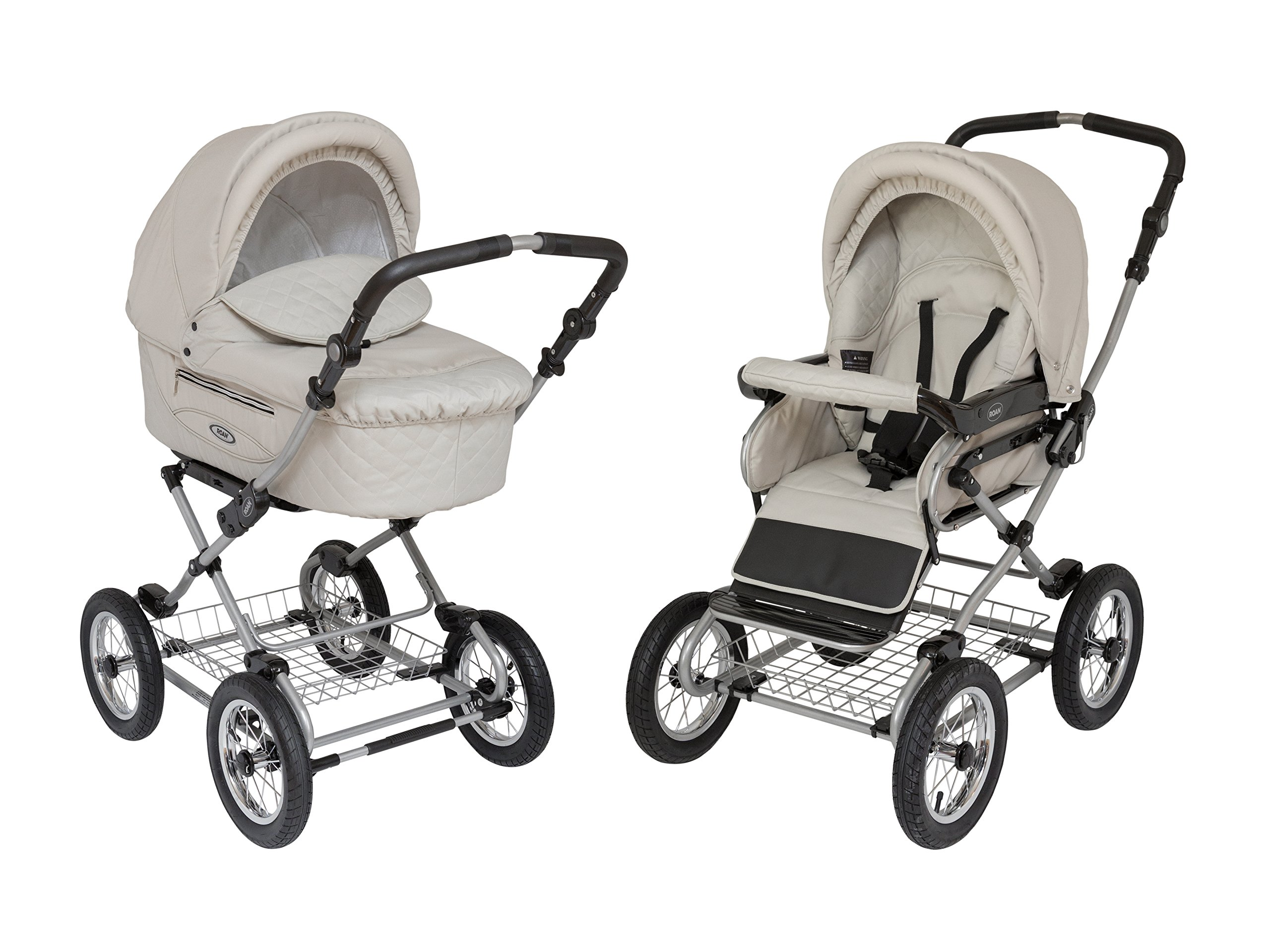 Roan Kortina Classic 2-in-1 Pram Stroller with Bassinet for Newborn Baby and Toddler Reclining Seat with Five Point Safety System UV Proof Canopy and Stainless Steel Storage Basket (Natural Tan) by Roan (Image #1)