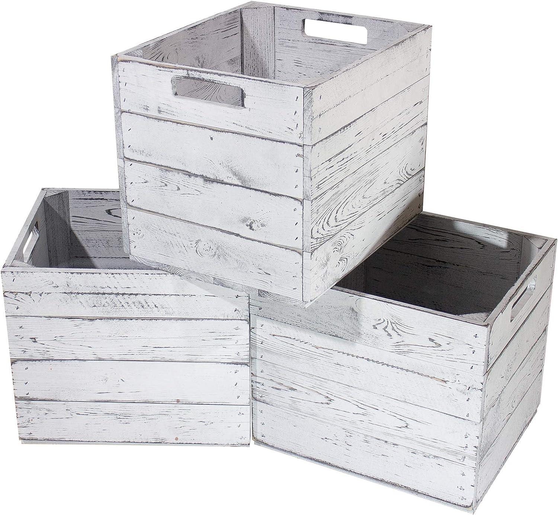 Obstkisten-online 4X KISTE f/ür KALLAX in grau -NEU- Fachelement aus Holz f/ür IKEA Regal Vintage Design 32x37,5x32,5cm auch einzeln sch/öne Deko