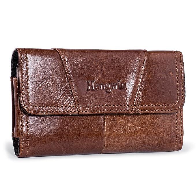 b5ccd8de5b24 Belt Loop Holster Case Hengwin Leather Cellphone Holster Case Belt Pouch  Case Men Waist Bag Compatible for iPhone XR 6S Plus(Brown)