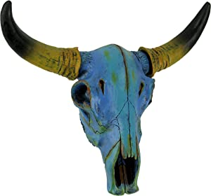 Zeckos Colorful Mottled Blue Tie Dye Steer Skull Wall Hanging