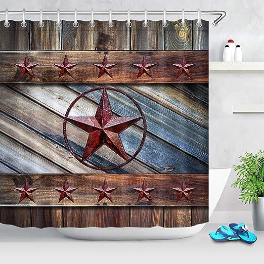 "Vintage Style Cowboys Texas Star Pattern Shower Curtain Set Bathroom Decor 72/"""