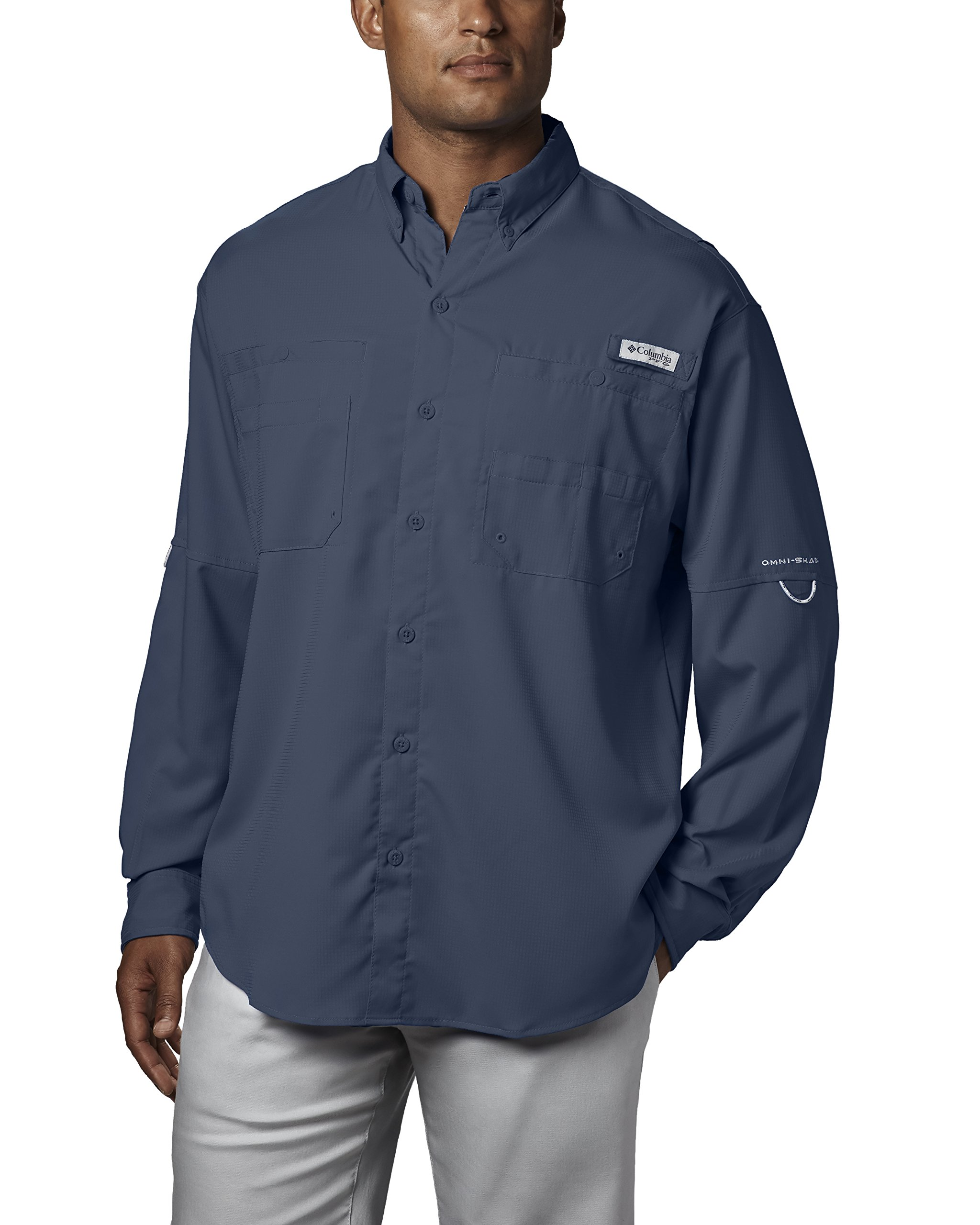Columbia Men's Plus Tamiami II Long Sleeve Shirt, Dark Mountain - X-Small