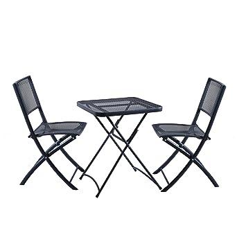 DOMI - Set de 3 piezas mesa y silla plegable para jardín ...