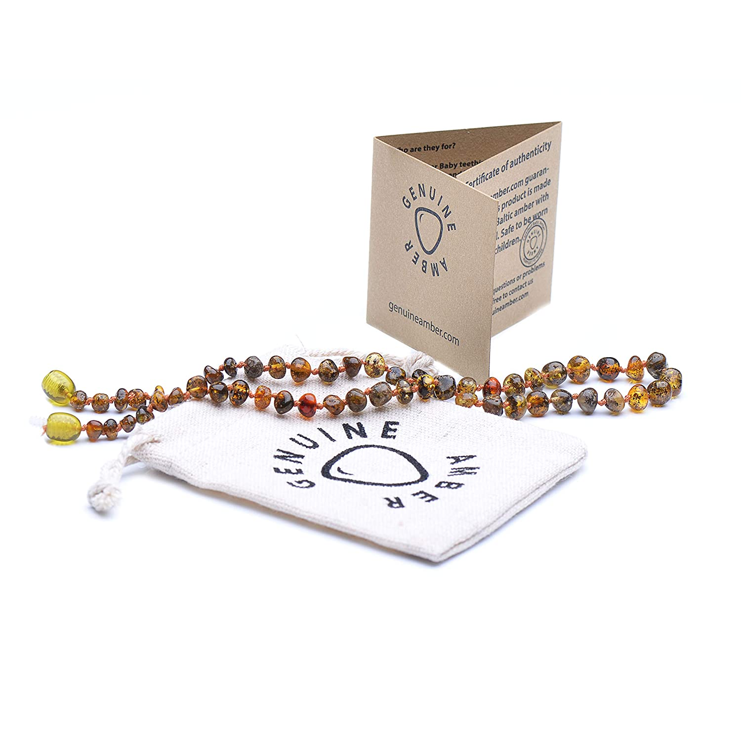 Safety Knotted Baltic Amber Teething Necklace for Baby with rose Quartz Natural Pain Relief with Baltic Amber 100/% Natural Polished Beads Rose - Cognac - 13.5