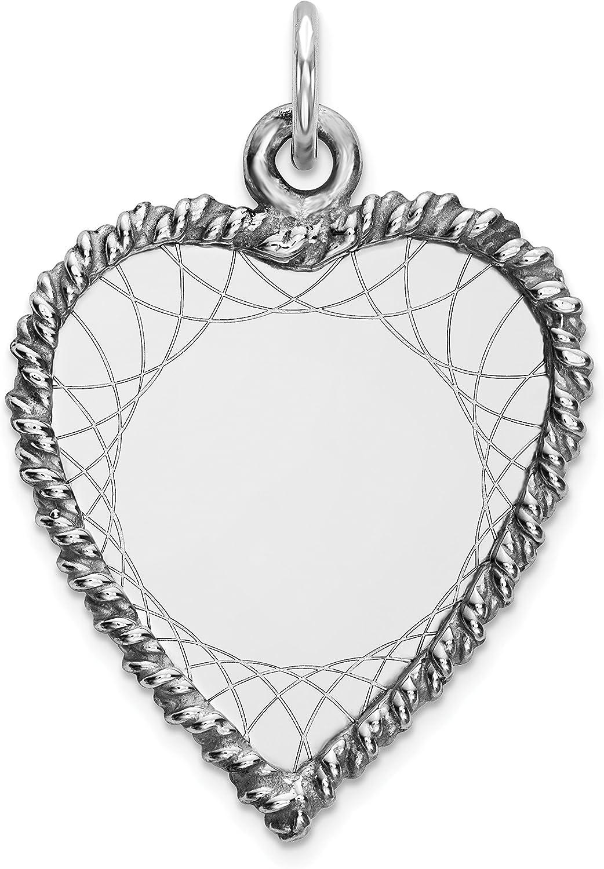 925 Sterling Silver Engraveable Heart Polished Front Satin Back Disc Pendant for Women