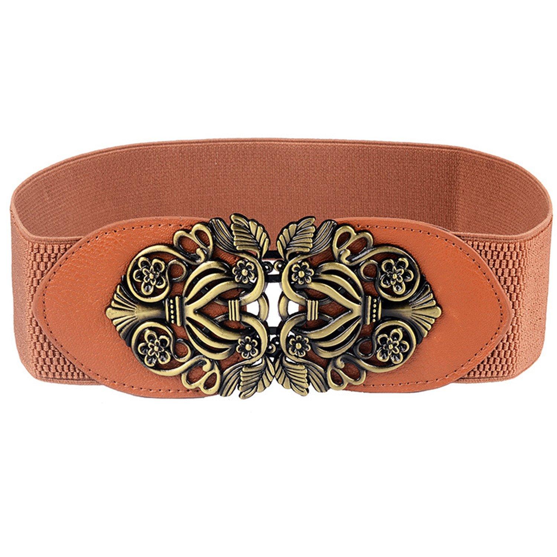Cheryl Bull Fashion Flower Metal Pin Buckle Belt for Women Female Wide Elastic Strap Belts Cummerbunds