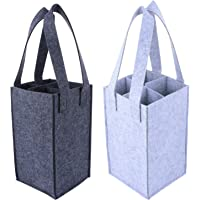 Bestonzon 2pcs 4 Bottle Wine Carrier Reusable Felt Wine Tote Pouch Holder Grocery Bags for Travel Camping Picnic…