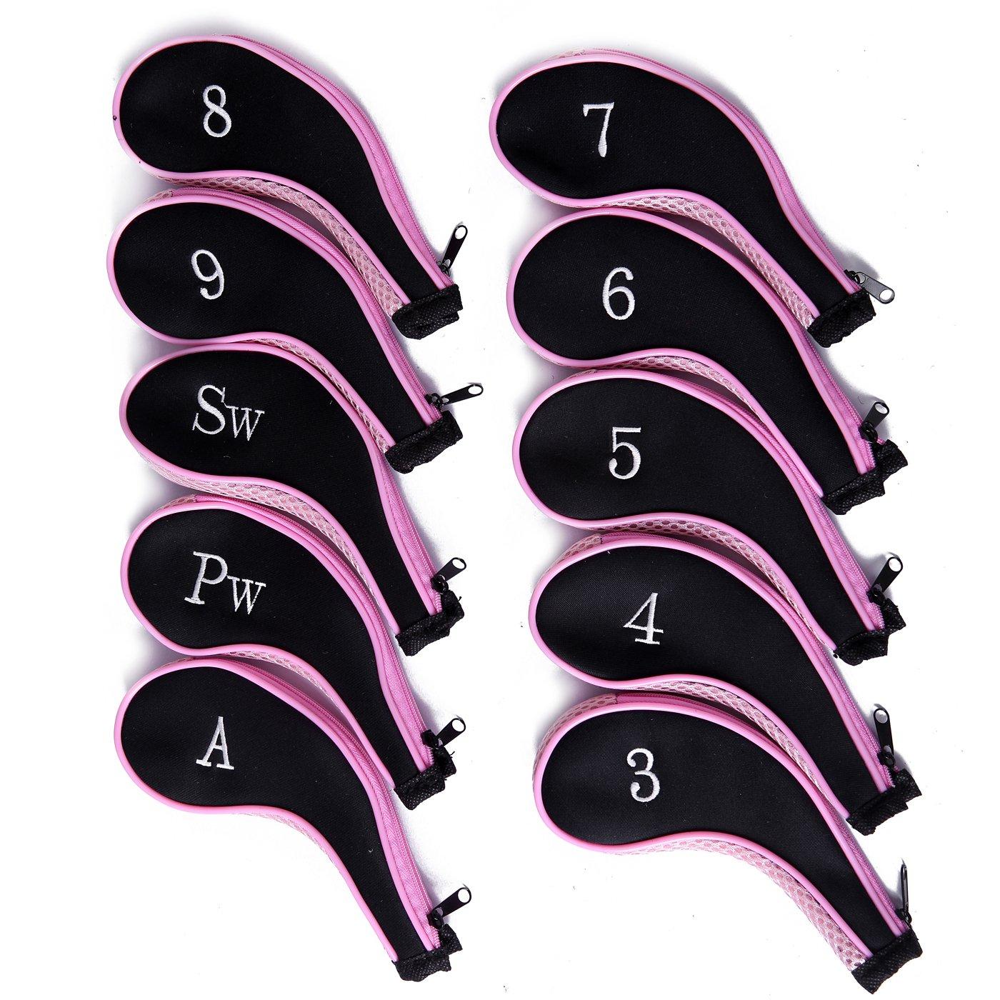 HDE Neoprene Zippered Golf Club Iron Covers - Set of 10 (Pink)