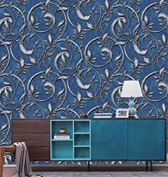 Eurotex Textured Pvc Coated 3d Designer Wallpaper Rolls For Living Roombedroomkitchenhome Decor Size 53 Cmx1000 Cm Blue