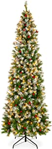 Best Choice Products 12ft Pre-Lit Partially Flocked Pre-Decorated Christmas Pencil Tree for Home, Office, Party Decoration w/ 1,818 Tips, 700 Lights, Pine Cones, Metal Hinges & Base - Green/White