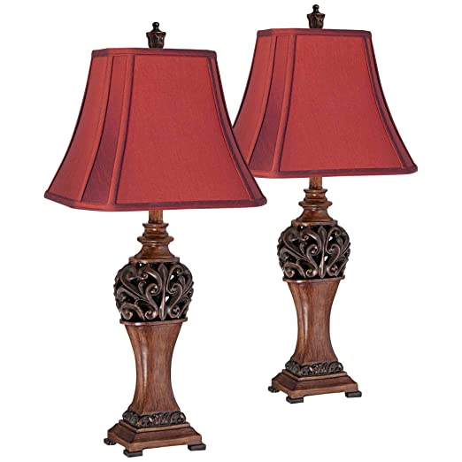 Exeter Traditional Table Lamps Set of 2 Carved Leaf Bronze Wood Rectangular  Crimson Red Shade for Living Room Bedroom Bedside Nightstand Office Family  ...