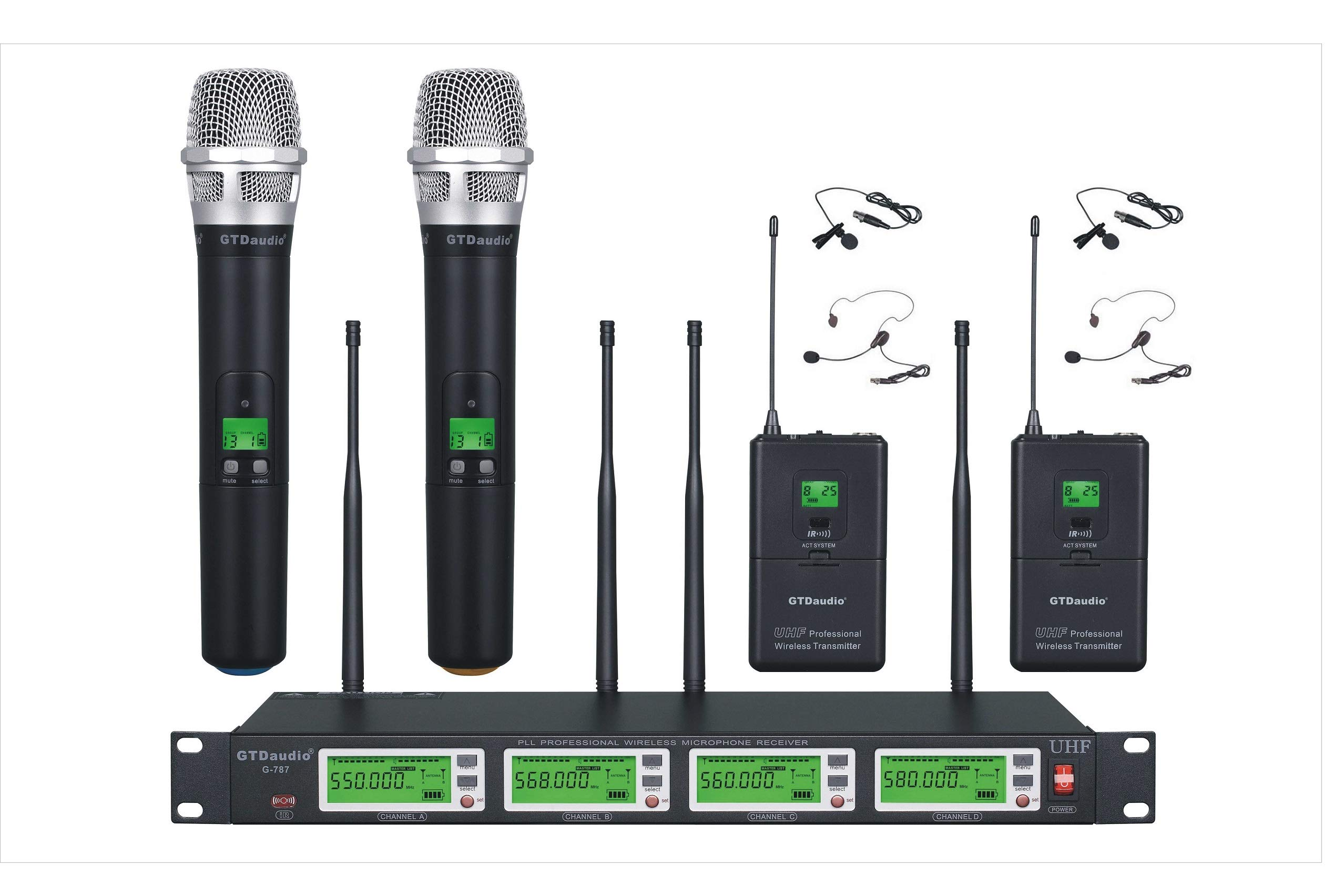 GTD Audio 4x800 Selectable Frequency Channels UHF Diversity Wireless Hand-held/Lavalier/Lapel/Headset Microphone Mic System 787 (2 Handheld & 2 Lavalier)