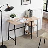 VECELO Computer Desk Study Writing Wooden Table with 2 Tier Storage Shelves on Left or Right for Home Office,Oak