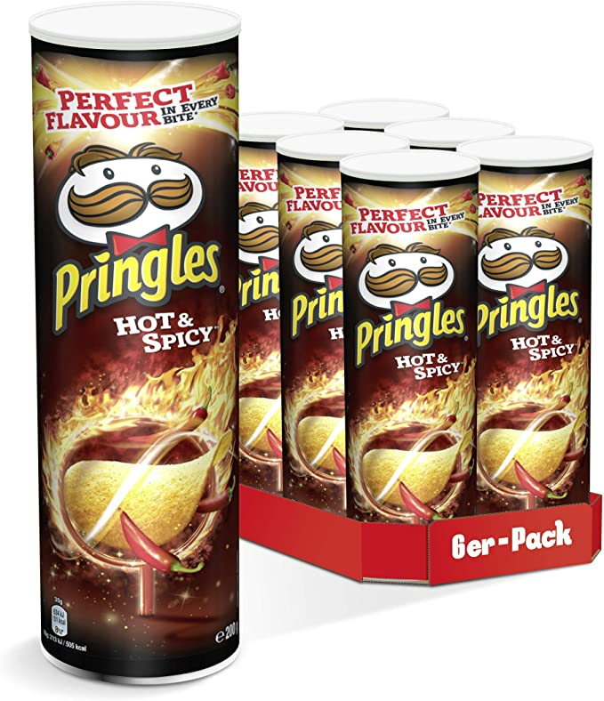Pringles Hot & Spicy Chips | 6 Party-Pack (6 x 200g): Amazon.es ...