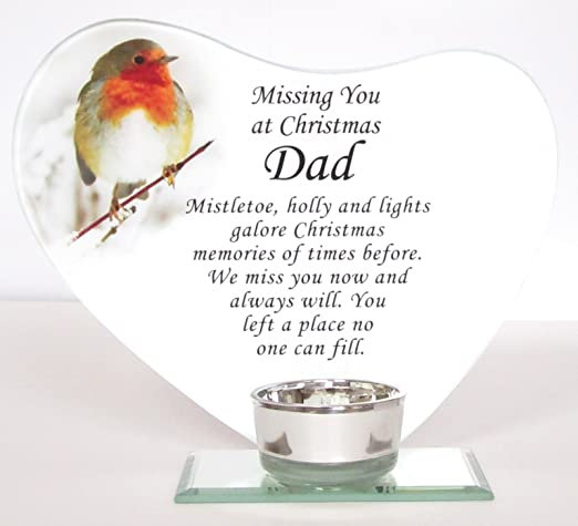 Missing Dad At Christmas.Missing You At Christmas Dad Glass Memorial Robin Heart Plaque With Tealight Holder